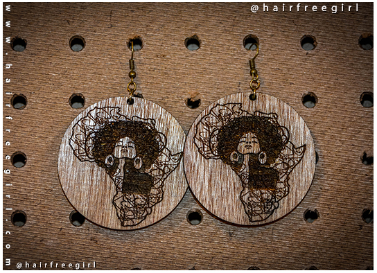 Laser cut wooden Afro girl Africa earrings large sizes turquoise red,pink black